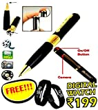 #9: Spy Hd Pen Camera With Voice-Video Recorder And Dvr-Hidden-Camcorderwith free Digital wrist watch (Multi-color)