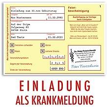 Einladungskarten Geburtstag (20 Stück) Krankschreibung Krankmeldung  Krankenschein Geburtstagskarten Geburtstagseinladungen Karte Einladungen  Gestalten | ...
