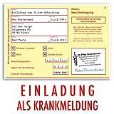 (50 x) Einladungskarten Geburtstag Krankschreibung Krankmeldung Arbeitsunfähigkeit Einladungen