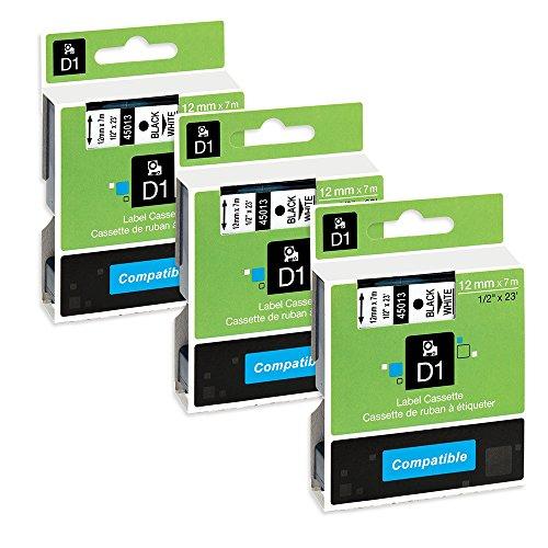 Unistar 3 x D1 45013 S0720530 Schriftband schwarz auf weiß Kassette kompatibel für Dymo LabelManager 100 110 120P 150 160 PC2, LabelPOINT 100 150 200 250 300 350 PC PC2 PNP PNP WiFi LabelWriter 400 450 Duo Pocket 1000 1000Plus 2000 3500 4500 5000 5500, 12
