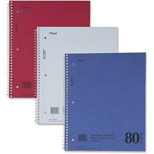 MeadWestvaco Mid Tier Notebook - 80 Sheet - 15lb - College Ruled - Letter 8.5 x 11 - 1 Each by Mead Meadwestvaco Mid-tier-notebook