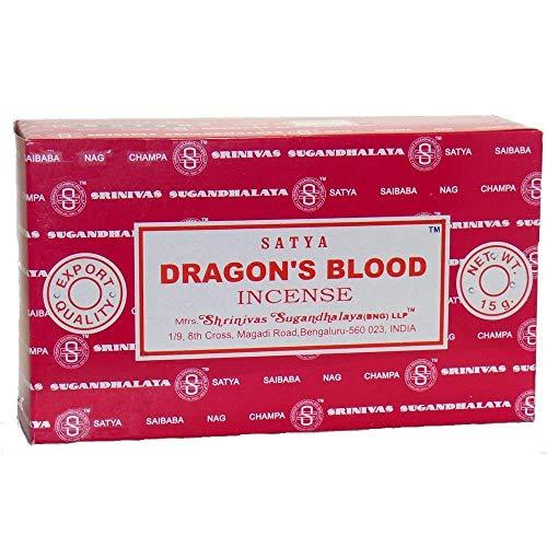Dragons Blood-räucherstäbchen (Satya Räucherstäbchen, 12 Düfte, in 1 Box - Sortiert Dragon's Blood)