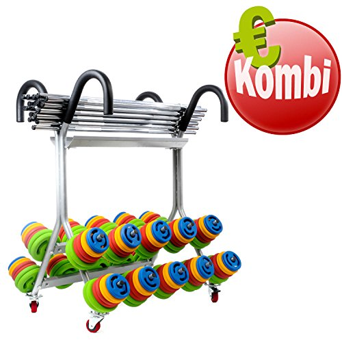 Prime Pump Kombi 20x 16 kg Prime Pump Set Langhantelset Gewichte + Rollständer