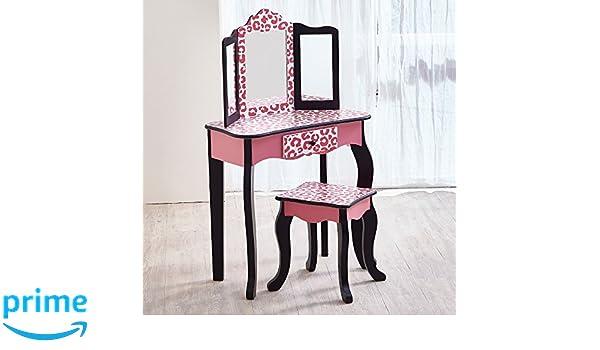 Astounding Teamson Kids Fashion Prints Vanity Table And Stool Set Pink Black Leopard Cjindustries Chair Design For Home Cjindustriesco
