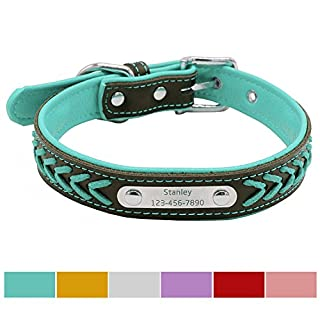 Vcalabashor Custom Leather Dog Collar/Braided Genuine Leather Name Plated Dog Collars for Small Medium Large/Personalised Engraved On Collar Pet ID Tags/S Blue & Black