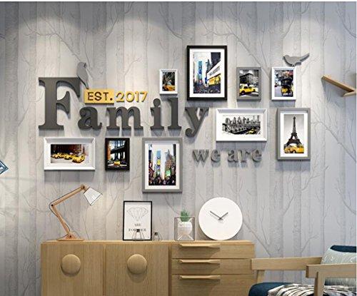 Foto-Galerie-Rahmen-Satz der Wand mit verwendbarer Grafik und Familie, Satz von 9 ( Farbe : A ) (Rahmen 5x7 Mat)