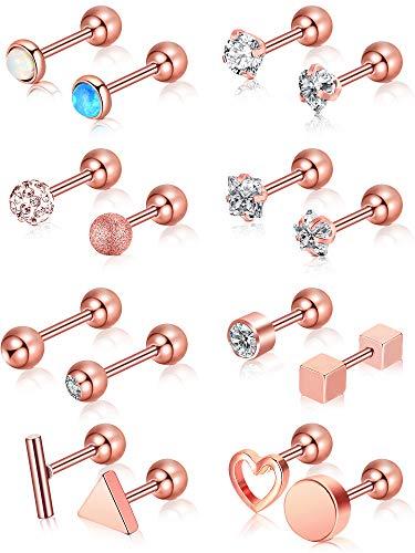 16 Pièces 16 G Nez Studs en Acier Inoxydable Tragus Labret Piercing de Nez Lèvres Conception Assortie Bijoux de Piercing pour Femmes (Or Rose 2)