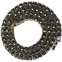 BESTOYARD Collar para hombre Hip Hop Crystal Rhinestones Diamantes cubano chapado en oro Link Chain Jewelry Decoration (Negro)