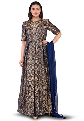 Utsav Fashion Pure Brocade Silk Abaya Style Suit in Navy Blue