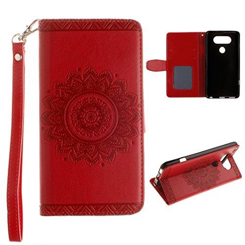 Ledertasche LG V20 Rot Rosa Schleife PU Leder Hülle Flip Book Case Cover Mandala Blume Muster Schutz mit Brieftasche und Standfunktion für LG V20