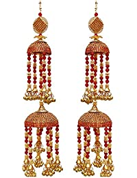 Lucky Jewellery Traditional Golden Red Color Gold Plated Kalira/kaleeray For Women's And Girls