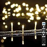 DECORACION NAVIDAD - Guirnalda luminosa 30 m de bombillas LED Blanco Cálido y 8 juegos de luces