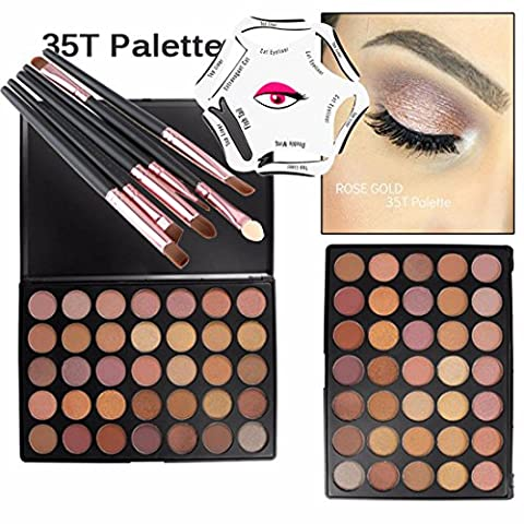 Lover Bar 35 Colour Eyeshadow Palette+EyeMake Up Brushes Set+Eyeliner Stencil-Beauty Cosmetics Tools-Waterproof Natural Glow Matte Shimmer Glitter Eyes Shadow Pallets-Professional Makeup Contour Kit (35T)