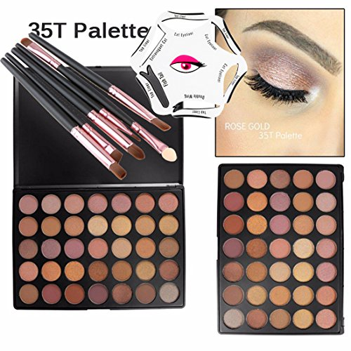 Lover Bar 35 Farben Lidschatten Palette+Eyeliner Schablone+6pcs Make Up Pinsel Set-Professionell Schönheits Kosmetik Eyeshadow Kit-Nature Glow Schimmern Glitzer Matt Nudetöne Augen Schatten+Bürsten (35T)