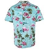 Robert Clancey Blaues Flamingo Rockabilly Authentisches Hawaiianisches Hemd XL