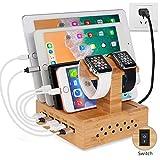 Yisen Handy Ausholz Bambus USB Ladestation, Universell Ladegerät Dockingstation,DIY Assemble Organizer Holder für Apple iWatch/iPhone/iPad/Cellphone/Tablets/E-Reader/Power Bank