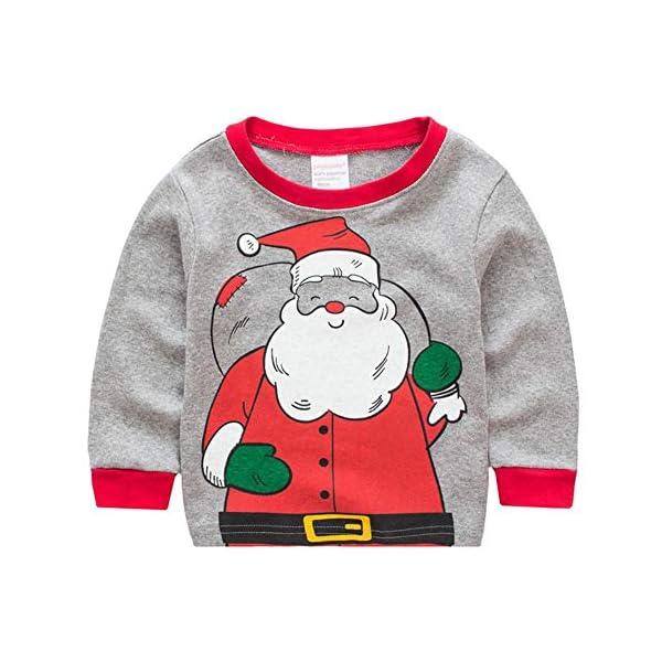 Miyanuby Pijamas Bebés Niño Niñas Pijamas Navideños de Algodón Camiseta de Manga Larga de Papá Noel + Pantalones, 2-7… 3