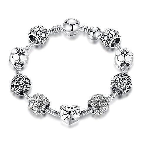 MASOP Bracelet Charms Plaqué Argent Avec Perles De Cristal Noir Amour Fleur En Email,Cadeau Pour Femme Fille