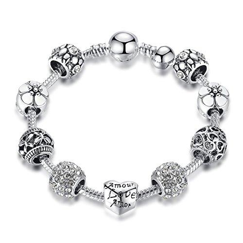 Schmuck Damen Armband-925 Silber Vergoldet Armschmuck mit Herz Liebe Anhängern-Geburtstagsgeschenke 8.26