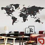 DESIGNSCAPE® Wandtattoo Weltkarte mit Städtenamen und Pins zum Markieren von Reisezielen und Wunschorten 220 x 107 cm (Breite x Höhe) Farbe 1: rot DW807427-L-F20