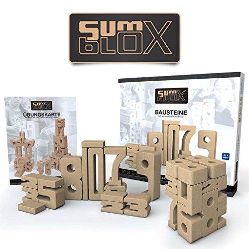 Beim Spielen Mathematik lernen I 43 große Holz-Bausteine in Form von Zahlen von SumBlox® I Pädagogisches Montessori Holz-Spielzeug (Bauklötze) zur Förderung mathematischer Intelligenz (Zahlenverständnis, Kopf-Rechnen, 1x1), Konzentration und Fein-Motorik (Holz-bausteine-set)