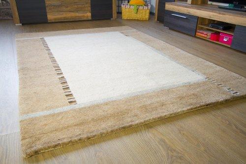 Natur Pur Teppich Heaven - Handarbeit aus reiner Schurwolle - Gabbeh Teppich beige sand -