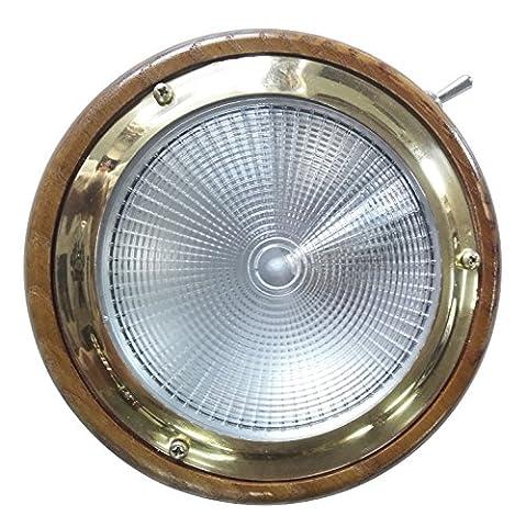laiton Maison Teck Base 15W Ampoule Lampe Dôme pour Marine Bateau Xiamen Oceangate