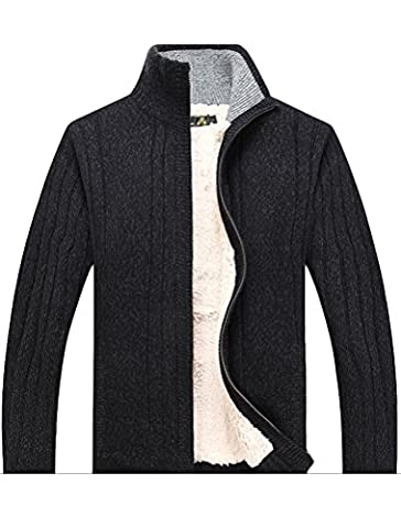 MatchLife Men's New Stand Collar Fleece Knitted Sweater Cardigans Coat M Grey Style1