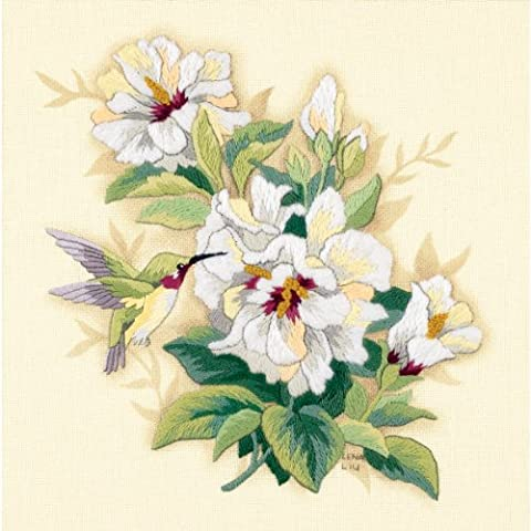 Dimensions D01544 Ivory Homespun Hibiscus Floral Crewel Embroidery Kit 30 x 30cm