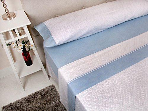 MB - Juego de Sábanas Franela Nuria Azul - 100% Algodón - Cama 90x190/200 cm