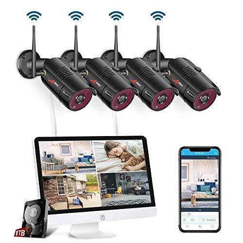 【All-In-One】 WLAN Überwachungskamera Set System, Home Security Camera System mit 15.6 Zoll LCD-Monitor, 4Stk. Drahtlos Außen 1080P HD IP-Kamera,Einfacher Fernzugriff, 1TB Festplatte SWINWAY