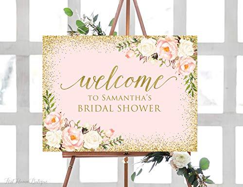 Tamengi Welcome Bridal Shower Sign, Blush Pink Bridal Shower Welcome Sign, Large Welcome Sign, Floral Welcome Sign, Horizontal, Landscape Sign