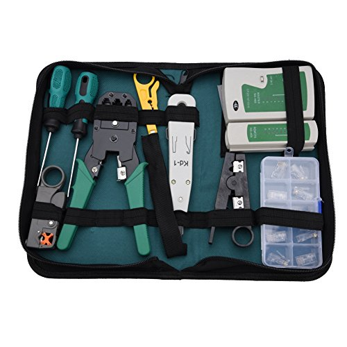 Aufee Kabeltest-Tools, LAN-Netzwerk-Service-Tool-Kit Kabeltester-Kit 11-teiliges Kombinationskit für RJ11-RJ45-Testnetzwerkverbindungen Kabeltest-Tools