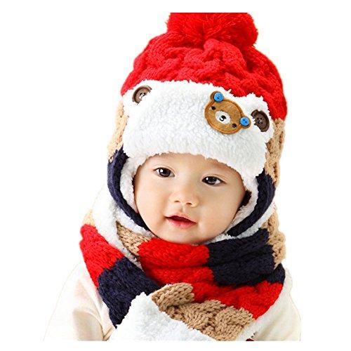 Pormow Herbst und Winter Baby Kleiner Bär Hut Kleinkind Mädchen Jungen Stricken Warme Woll Mütze/Schal