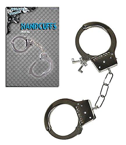 Faschingsfete Spielzeug Handschellen mit Schlüssel- Metall- Polizei Gefängnis Kostüm, Silber