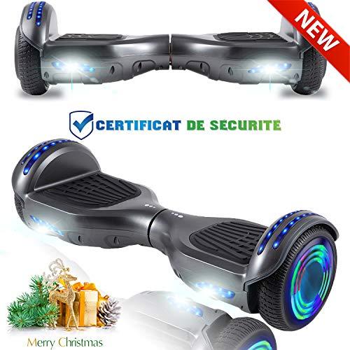 CHIC Elegante Bilancia da 6,5   Pollici, Scooter Elettrico autobilanciante, Ruote da Skateboard con Luce a LED, Motore 700 W Bluetooth per Bambini e Adulti