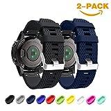 TOPsic Garmin Fenix 5S Armband - Silikon Sportarmband Uhr Band Strap Ersatzarmband Uhrenarmband für Garmin Fenix 5S Smartwatch GPS-Multisportuhr (Schwarz + Mitternachtsblau)