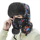 Unisex Wintermütze Fliegermütze Trappermütze mit Ohrenklappen und abnehmbarer Mundschutz Fellmütze