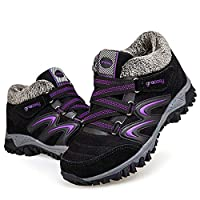 gracosy Women Flat Walking Hiking Ankle Boots, Winter Low Rise Slip On Trekking Footwear Anti-Slip Shoes Fur Lined Outdoor Lace Up Lightweight Warm Snow Boots Running Boots Black 5.5 UK