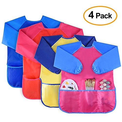 Kuuqa 4pcs impermeabile per bambini gioca art smock, grembiuli per bambini con maniche lunghe e 3 tasche per dipingere, nutrire, età 2-6 anni (colori e pennelli non inclusi)