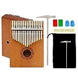 Mahagoni Kalimba Daumenklavier 17 Schlüssel Mbira Finger Klavier Solid Sanza Musikinstrument mit Tragetasche, Stimmwerkzeug, Daumenschutz für Anfänger