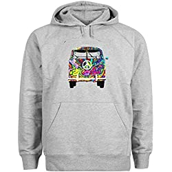 Woodstock VW T1 Weed 1969 Hippie Gris Sudadera con capucha unisex 5X Large