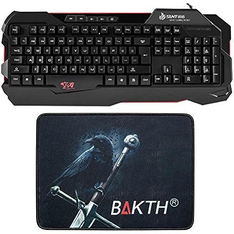 BAKTH Teclado Gaming (109 Teclas / Wired / 5 Multimedia-Tasten /1.5m USB / EE.UU QWERTY Inglés) - [Alfombrilla de Ratón hermoso como regalo] y [18 meses de garantía]