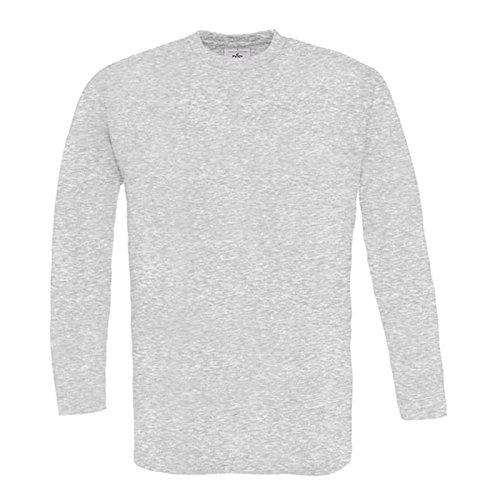 B&C Collection Herren Modern Langarmshirt Gr. M, asche (Asche-raglan-t-shirt)