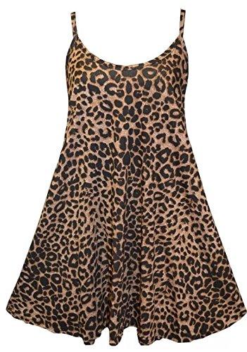 Funky Boutique Jupe Patineus'à bretelles pour femme Mini robe Cami Débardeur Swing : 8-26 Multicolore - Léopard