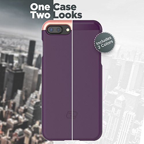 "iPhone 7 Plus Case [custom-fit] Encased SlimShield RS2 [smooth-finish] Hybrid Slider Cover (for Apple iPhone 7Plus 5.5"") (Smooth Black) Royal Purple"