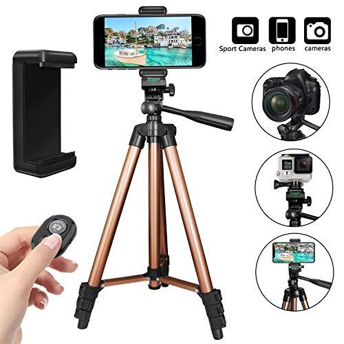 """PEYOU Handy Stativ, 50""""/ 128cm Smartphone Stativ mit Handy Halterung und Bluetooth Fernbedienung Kamera Stativ Kompatibel für iPhone XS Max/X/8/7/6 Plus, Handy mit 4-6 Zoll und Kamera, Projektoren"""