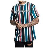 Eaylis-Herren tops T-Shirt Kurzarm Farbiges KurzäRmliges Fitness-Oberteil Mit Vertikalen Streifen
