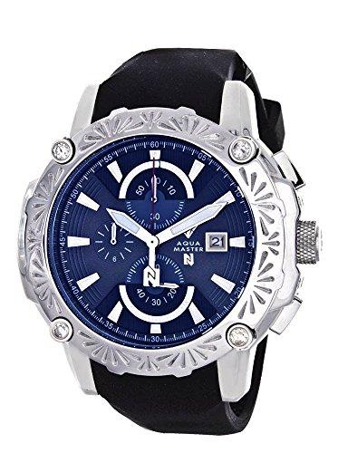 Aqua Master el Russo Nicky Jam Chrono esfera de color azul diamante de los hombres reloj # nj103