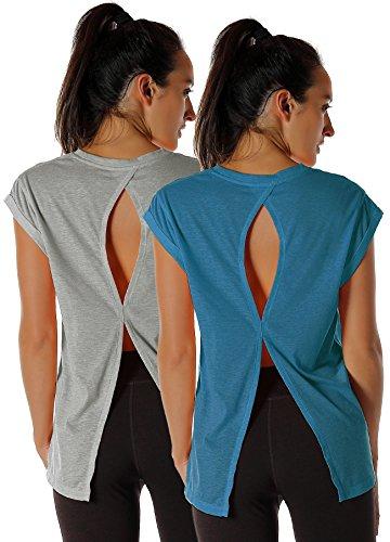 icyzone Damen Fitness-Trainings Kurzarm Shirt Rundhals Top unifarbenes Sport T-Shirt Lang, 2er Pack (M, Grey/Denim) - Training Top T-shirt